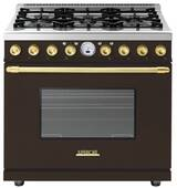 "RD361SCMG Superiore 36"" DECO Series Dual Fuel Free Standing Range with Self Clean Oven and 6 Brass Burners - Brown with Gold Accent"