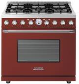"RD361SCRC Superiore 36"" DECO Series Dual Fuel Free Standing Range with Self Clean Oven and 6 Brass Burners - Red with Chrome Accent"