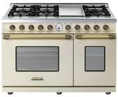 """RD482SCCB Superiore 48"""" DECO Series Gas and Electric Range with Classic Door, Griddle, and Two Gas Ovens - Cream with Bronze Accent"""