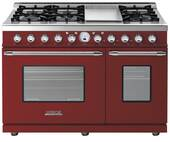 "RD482SCRC Superiore 48"" DECO Series Dual Fuel Free Standing Range with Classic Door, Griddle, and Two Gas Ovens - Red with Chrome Accent"