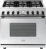 "RN361SCSS Superiore 36"" 6.7 Cu. Ft. Self-Cleaning Superiore NEXT Panorama Series Duel Fuel Range with 6 Gas Burners and Cool Flow System - Electric Oven - Stainless Steel"