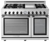 "RN482GPSS Superiore 48"" NEXT Gas Range with Panorama Door, Griddle and 2 Extra Large Gas Ovens - Natural Gas - Stainless Steel"