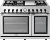 "RN482SPSS Superiore Panorama 48"" NEXT Duel Fuel Range with Easy-To-Clean Gray Enamel Finish and a Cool Flow System - Gas - Stainless Steel"