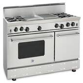 "RNB484FTBV2N BlueStar 48"" Freestanding Natural Gas Range - 4 Burners with 24"" French Top - Stainless Steel"