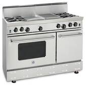 "RNB488BV2N BlueStar 48"" Freestanding Natural Gas Range - 8 Burners - Stainless Steel"