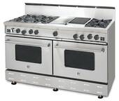 "RNB606CBV2N BlueStar 60"" Freestanding Natural Gas Range - 6 Burners with 24"" Charbroiler - Stainless Steel"