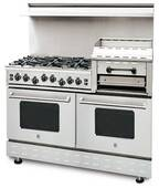 "RNB606GHCV2N BlueStar Heritage Series 60"" Freestanding Natural Gas Range - 6 Burners with Raised 24"" Griddle - Stainless Steel"