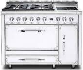 TVDR4802GIAW Viking Tuscany 48 Inch Pro-Style Dual Fuel Range with 2 20,000 BTU Gas Burners, Griddle and 2 Induction Elements - Natural Gas - Antique White