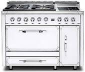 TVDR4804FAW Viking Tuscany 48 Inch Pro-Style Dual Fuel Range with 4 20,000 BTU Gas Burners, French Top and 3.8 cu. ft. Convection Oven - Natural Gas - Antique White