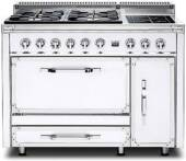 TVDR4804IAW Viking Tuscany 48 Inch  Pro-Style Dual Fuel Range with 4 20,000 BTU Gas Burners, 2 Induction Elements and 3.8 cu. ft. Convection Oven - Natural Gas - Antique White