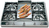 """UHP965FD Ilve 36"""" Pro Style Natural Gas Cooktop - Stainless Steel"""
