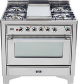 """UM90FDVGGIX Ilve Majestic 36"""" Gas Range with Full Width Warming Drawer and Multi-Function European Convection Oven - 5 Burners + Griddle + Rotisserie - Stainless Steel"""