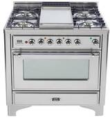 """UMC90FDMPIX Ilve ILVE 36"""" Majestic Collection Dual Fuel Range with Griddle and Multi-Function European Convection Oven - Stainless Steel"""