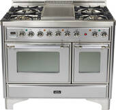 "UMD100FDMPIX Ilve Majestic 40"" 4 Burner Dual Fuel Range with Griddle - Natural Gas - Chrome Trim - Stainless Steel"