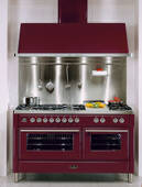 """UMT150FSDMPI Ilve Majestic Techno Collection 60"""" Dual Fuel Range with Full Width Warming Drawer and Multi-Function European Convection Oven - 6 Burners + Griddle + French Top + Rotisserie - Stainless Steel"""