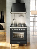 """UMT76DMPI Ilve Majestic Techno Collection 30"""" Dual Fuel Range with Full Width Warming Drawer and Multi-Function European Convection Oven - Stainless Steel"""
