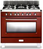"VCLFSGG365R Verona Classic 36"" All Gas Single Oven Range with 5 Sealed Burners - Gloss Red"