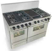 """TPN537-7BW FiveStar Five Star 48"""" Pro Style Dual-Fuel Range Sealed Burners Self-Cleaning Convection Range - Liquid Propane - Stainless Steel"""