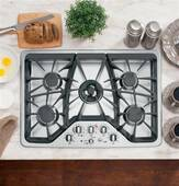 "CGP350SETSS GE Cafe 30"" Built In Gas Cooktop - Stainless Steel"