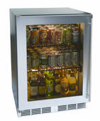 "HA24RB33L Perlick 24"" ADA Compliant Built-in Refrigerator with Stainless Steel Glass Door - Left Hinge"