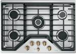 "CGP95303MS2 Cafe 30"" Built-In Gas Cooktop with 5 Sealed Burners and Dishwasher Safe Grates - Stainless Steel with Brushed Bronze Steel Knobs"