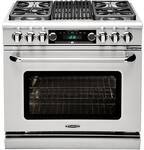 "CSB362B2L Capital 36"" Connoisseurian Dual Fuel Self-Clean Range with 4 Sealed Burners + 12"" Grill with Commercial Grates - Liquid Propane - Stainless Steel"