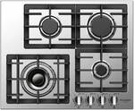 "F4GK24S1 Fulgor 24"" 400 Series Built-In Frontal Knob Gas Cooktop with Heavy Duty Cast Iron Grates and European Sealed Burners - Stainless Steel"