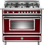 "HER366GASVI01 Bertazzoni Heritage 36"" Range with 6 Brass Burners and Gas Oven - Vino"