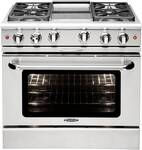 """MCR364GN Capital Precision Series 36"""" Gas Range with 4 Power-Flo Burners & Thermo-Griddle - Natural Gas - Stainless Steel"""