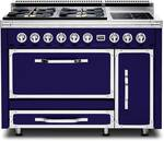TVDR4804IDB Viking Tuscany 48 Inch  Pro-Style Dual Fuel Range with 4 20,000 BTU Gas Burners, 2 Induction Elements and 3.8 cu. ft. Convection Oven - Natural Gas - Dark Blue