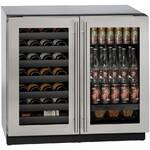 "3036BVWCS00B U-Line Modular 3000 Series 36"" Beverage Center with Double Doors - Stainless Frame"