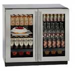 "3036RRGLS13B U-Line Modular 3000 Series 36"" Glass Double Door Refrigerator with LED Interior Lighting and OLED Display - With Lock - Stainless Steel Frame"