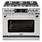 "COB362G2LP Capital 36"" Connoisseurian Dual Fuel Self-Clean Range with 4 Open Burners + 12"" Thermo-Griddle - Liquid Propane - Stainless Steel"