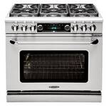 "COB362G2N Capital 36"" Connoisseurian Dual Fuel Self-Clean Range with 4 Open Burners + 12"" Thermo-Griddle - Natural Gas - Stainless Steel"