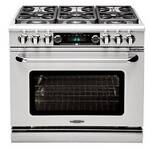 "CSB362B2N Capital 36"" Connoisseurian Dual Fuel Self-Clean Range with 4 Sealed Burners + 12"" Broil Burner with Commercial Grates - Natural Gas - Stainless Steel"