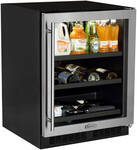 "ML24BCG1LS Marvel 24"" Beverage Center with Two 60/40 Split Convertible Shelves - Left Hinge - Stainless Frame"