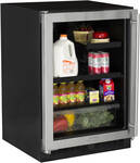 "ML24BRG2LB Marvel 24"" Beverage Center with 60/40 Split Convertible Shelf and MaxStore Utlity Bin - Left Hinge - Smooth Black Frame"