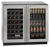 """3036BVWCS-13B U-Line Modular 3000 Series 36"""" Beverage Center with Double Doors and Lock - Stainless Frame"""