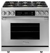 """HDPR36SNG Dacor 36"""" Professional Natural Gas Dual Fuel Pro Range with Pro Handles Illumina Burner Controls - Stainless Steel"""