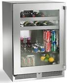 "HH24BO33L Perlick 24"" Signature Sottile Series Outdoor Left Hinge Glass Door Beverage Center with Black Vinyl Shelving and RapidCool Forced Air Refrigeration System - Stainless Steel"