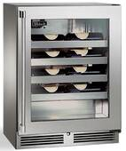 """HH24WO33L Perlick 24"""" Signature Series Sottile Glass Door Left Hinge Built-In Outdoor Wine Reserve with 20  Wine Storage and RapidCool Forced Air Refrigeration System - Stainless Steel"""