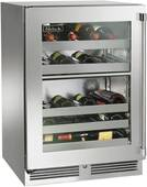 """HP24DS43L Perlick 24"""" Signature Series Dual Zone Undercounter Wine Reserve with Stainless Steel Glass Door - Left Hinge"""
