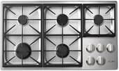 """HPCT365GSNG Dacor 36"""" Heritage Collection Pro Style 5 Burner Natural Gas Cooktop with PermaClean Bead Blasted Finish and Illumina Burner Controls - Stainless Steel"""