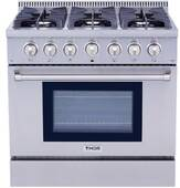 "HRD3606U Thor Kitchen 36"" Professional Dual Fuel Range with 6 Sealed Burners - Stainless Steel"