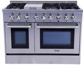 "HRD4803U Thor Kitchen 48"" Professional Double Oven Dual Fuel Range with 6 Sealed Burners and Griddle - Stainless Steel"