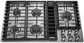 "KCGD506GSS KitchenAid 36"" 5 Burner Gas Downdraft Cooktop with 300 CFM and 3-Speed Fan Control - Stainless Steel"