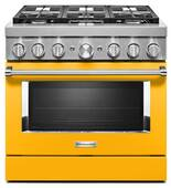 KFDC506JYP KitchenAid 36 Inch Smart Commercial-Style Dual Fuel Range with 6 Burners - Yellow Pepper