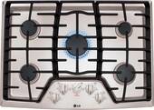 """LCG3011ST LG 30"""" Gas Cooktop with SuperBoil and Heavy Duty Cast Iron Grates - Stainless Steel"""