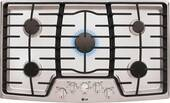 """LCG3611ST LG 36"""" Gas Cooktop with SuperBoil and Heavy Duty Cast Iron Grates - Stainless Steel"""