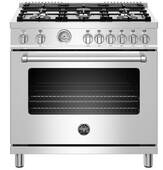 "MAST366GASXT Bertazzoni 36"" Master Series Free Standing 6 Burner All Gas Range with Counter Deep Main Top and Extra Large High Power Infrared Boiler - Stainless Steel"